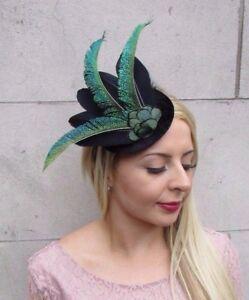 Image is loading Black-Dark-Green-Peacock-Statement-Feather-Fascinator -Races- 1ce9e1edc7e