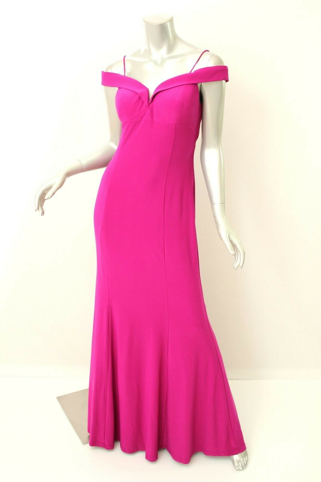 ADRIANNA PAPELL Magenta Off-Shoulder Mermaid Gown 8