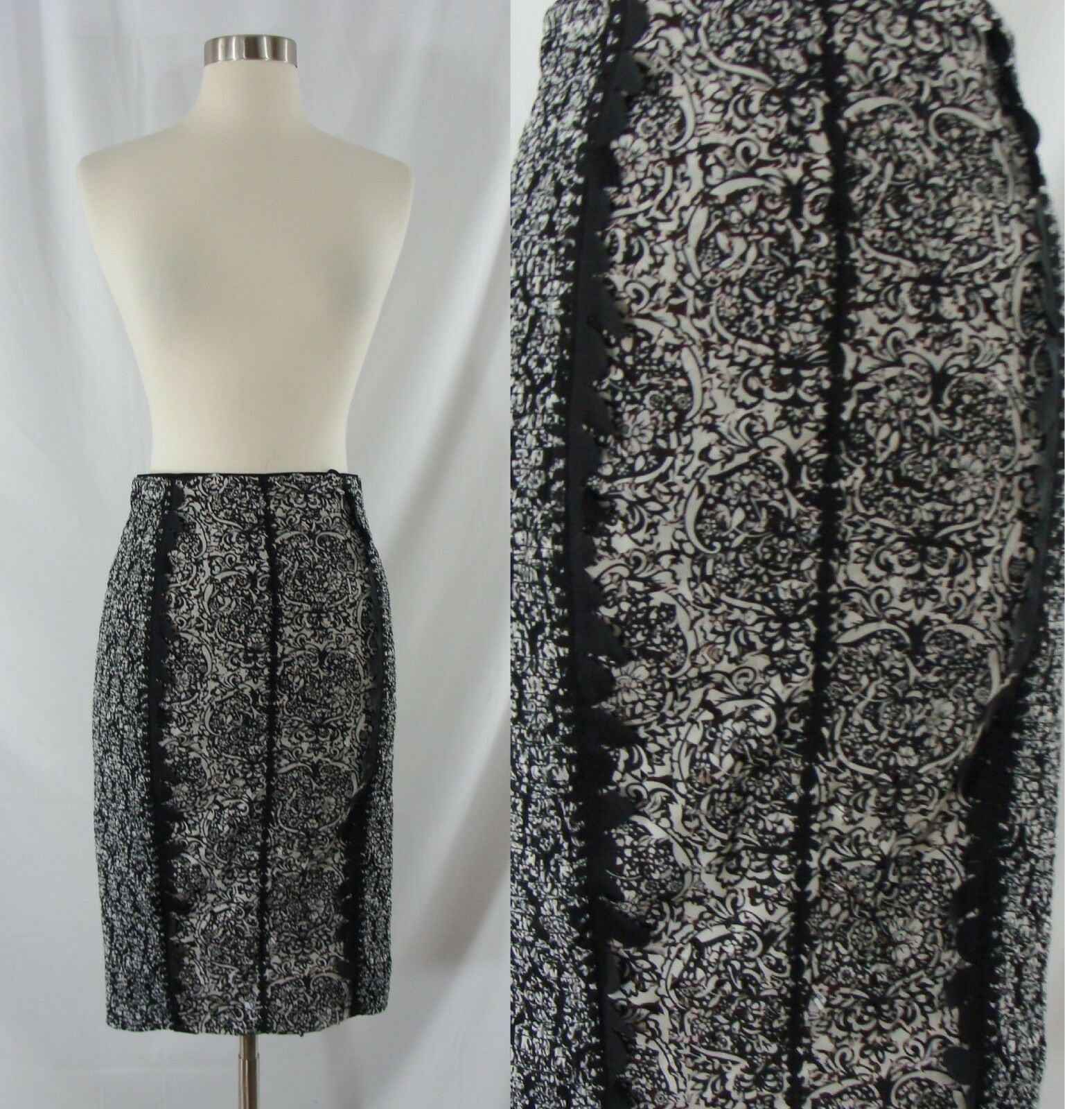 New Anthropologie 0 Beguile by Bryon Lars Cut Out Stretch Pencil Skirt NWT