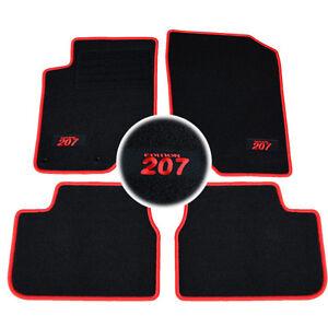 4 tapis sol moquette logo rouge sur mesure peugeot 207 207 sw sport trendy 64 ebay. Black Bedroom Furniture Sets. Home Design Ideas