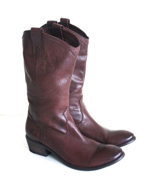 233d9e5e1c7 Frye Carson Brown Pull on Leather Cowboy BOOTS 11