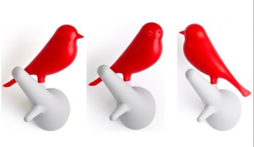 Kleiderhaken rot//weiß 2er Set Qualy Wandhaken mit Vogel Sparrow auf Ast
