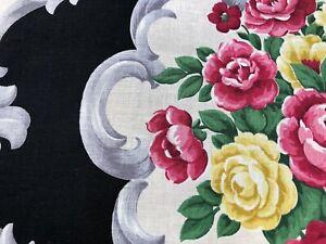 Dorothy Draper Touch Barkcloth Era Vintage Fabric Unused Cottage Roses on Black
