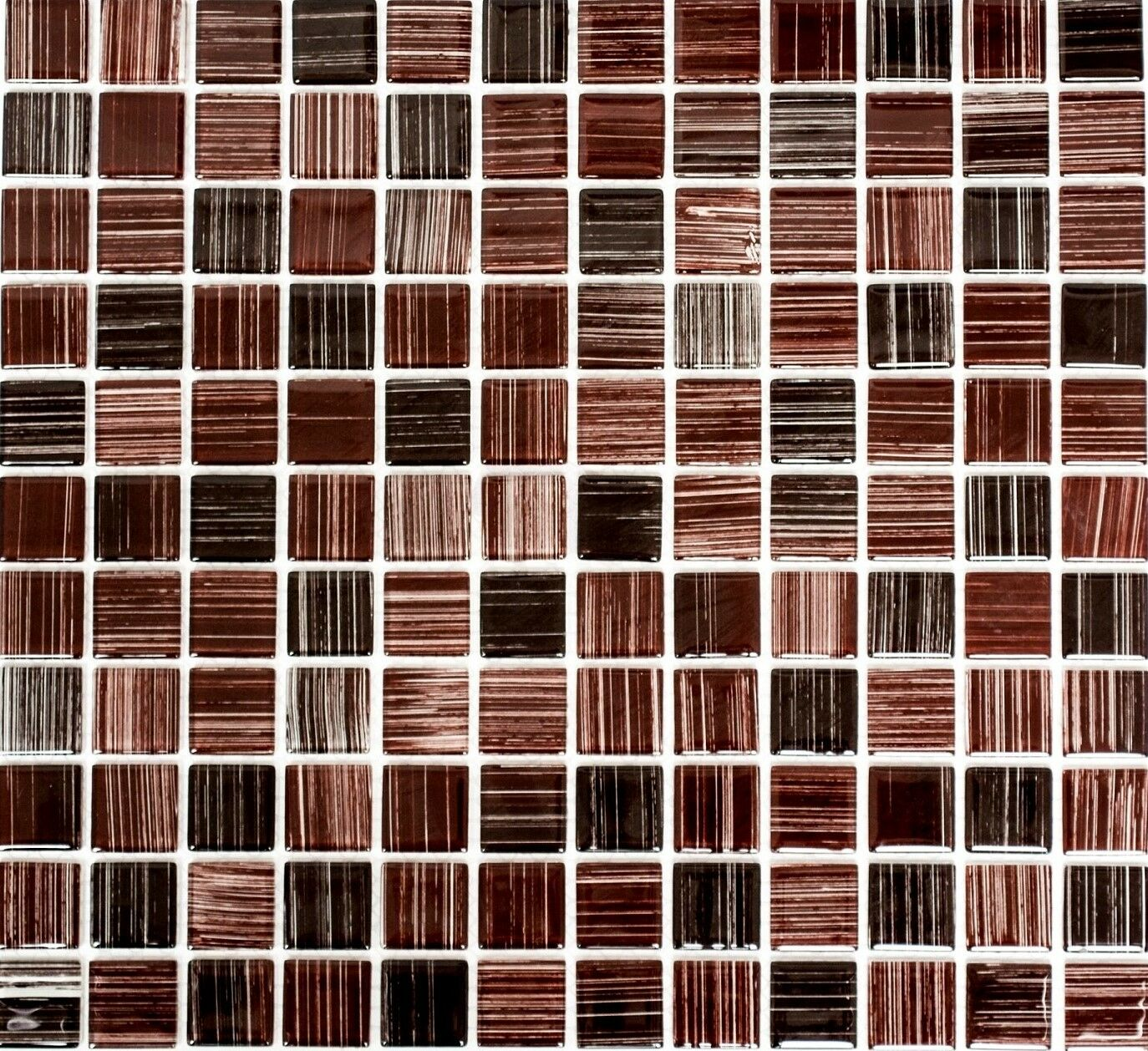 Mosaik Fliese Transluzent strichbraun Glasmosaik Crystal 64-1309_f  10 Matten