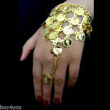 Bauchtanz  Sklavenarmband Handschmuck Armband mit Ring Münzen Gold Orient