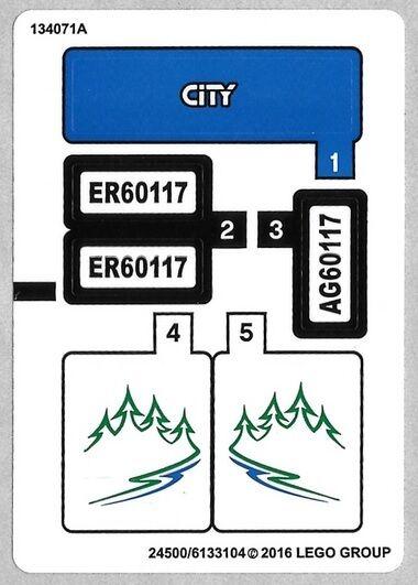 Lego Ciudad Furgoneta & Caravana Set Recambio Hoja de Pegatinas para #60117