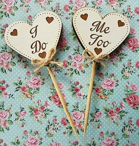 Hand-made-034-I-Do-034-034-Me-Too-034-wedding-cake-heart-topper-wooden-engraved