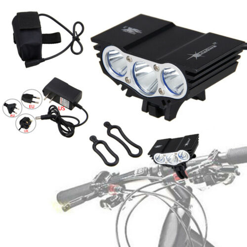 Mountain BMX Bike X3 LED Front Light 4Modes Cycling Headlamp 8.4V Battery Pack D