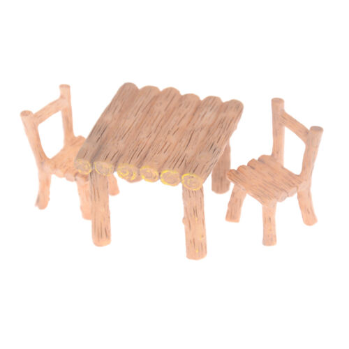 3Pcs//Set Wooden Table Chairs Dollhouse Miniatures Doll Accessorie/_WK