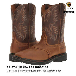 b1322fc5243 Details about ARIAT SIERRA Men's Wide Square Steel Toe Western Cowboy Work  Boots #10010134