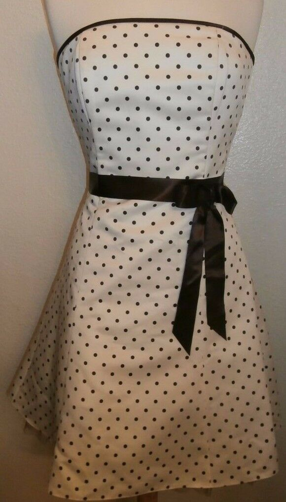 Jessica McClintock for Gunne Sax US Größe 7 8 Vintage Polka Dot Weiß