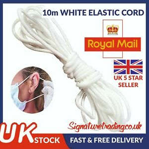 10 Metres Elastic Cord Soft White Band Strap Sewing Craft For