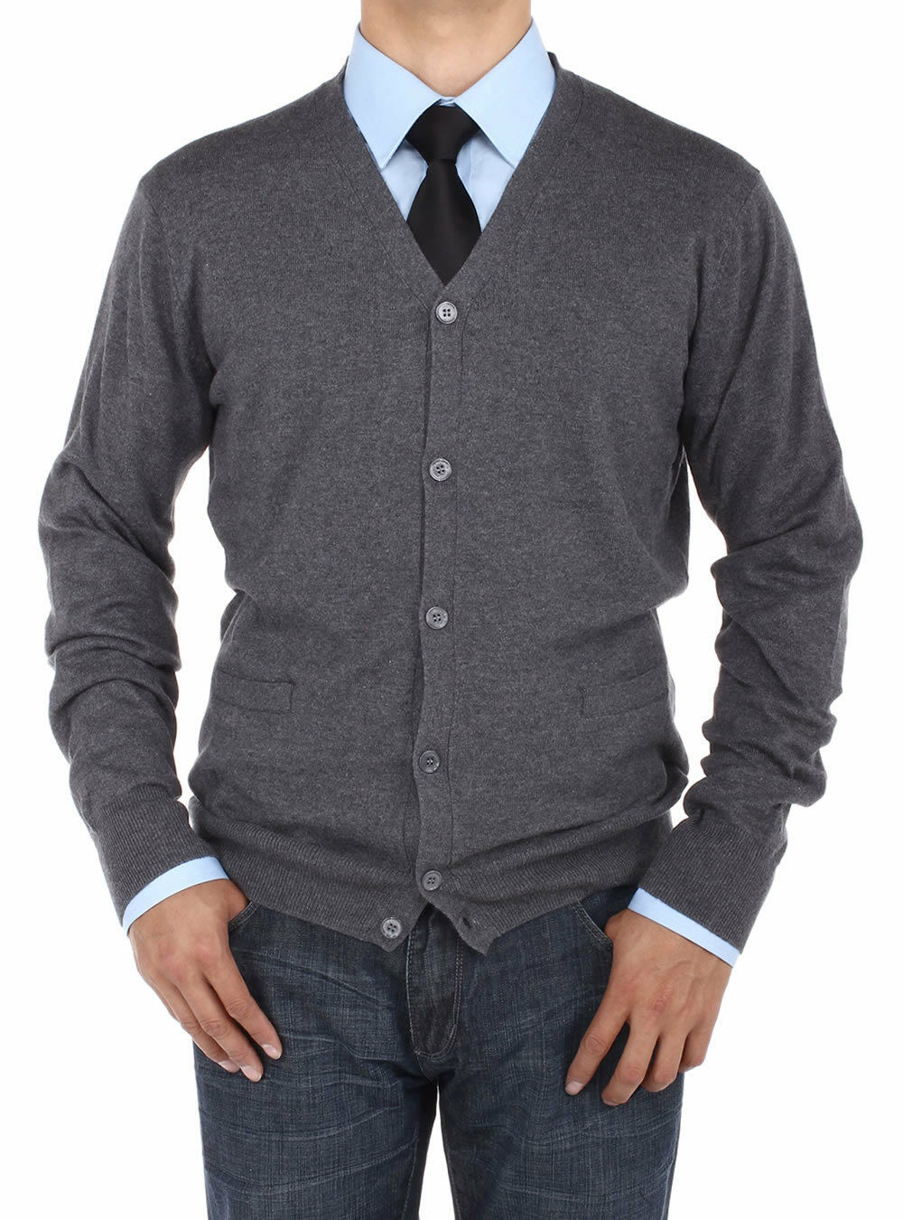 Luciano Natazzi  Herren Cotton Cardigan Sweater Relaxed Fit