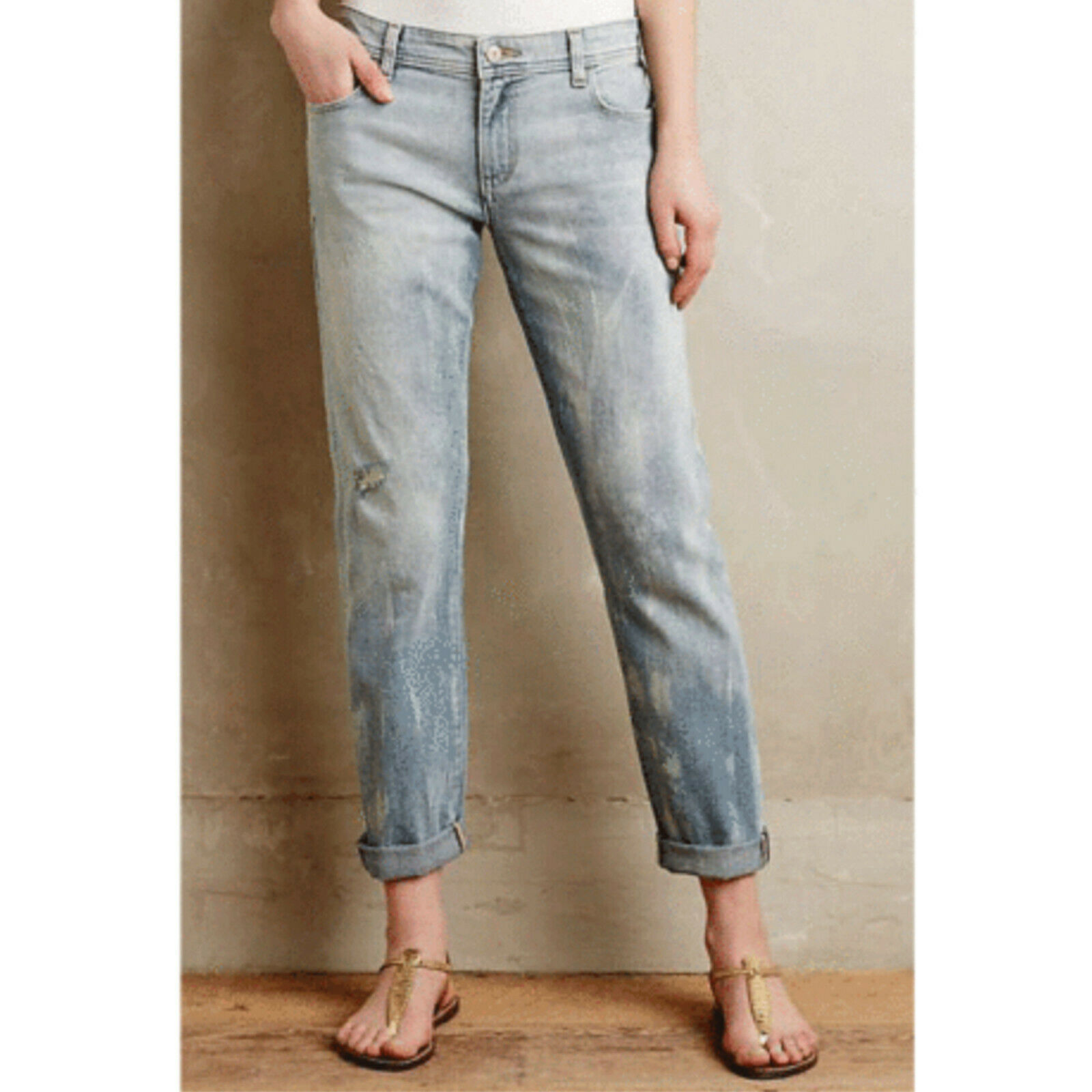 Anthropologie Pilcro and the Letterpress Hyphen Crop Distressed Bleach Jeans NWT