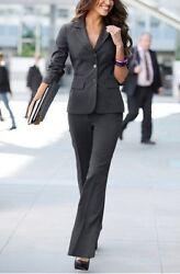 3Tlg. Hosenanzug Set Laura Scott Gr.32 Damen Anzug Grau Streifen Hose Blazer NEU