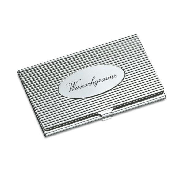 Schnelle Lieferung Visitenkartenetui Visitenkartenbox Mit Gravur Silberglänzend Metall