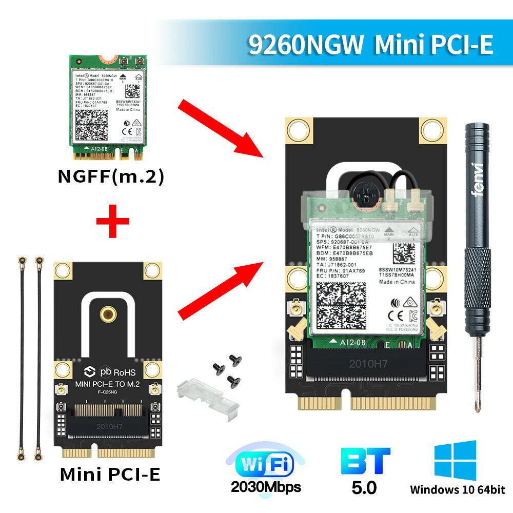 Half mini PCIE Wireless-AC Intel 9260 wifi card dual band 1730Mbps BT5.0 PC Card