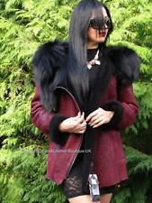 2017 EXCLUSIVE RUBY REAL SHEARLING LAMBSKIN JACKET COAT & BLACK FOX FUR HOOD L