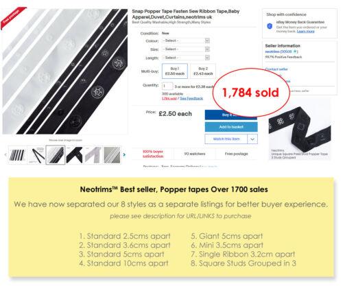 Snap Popper Tape Fasten Ribbon Tape,Studs 5cms Spacing Apparel,Duvet,Neotrims UK