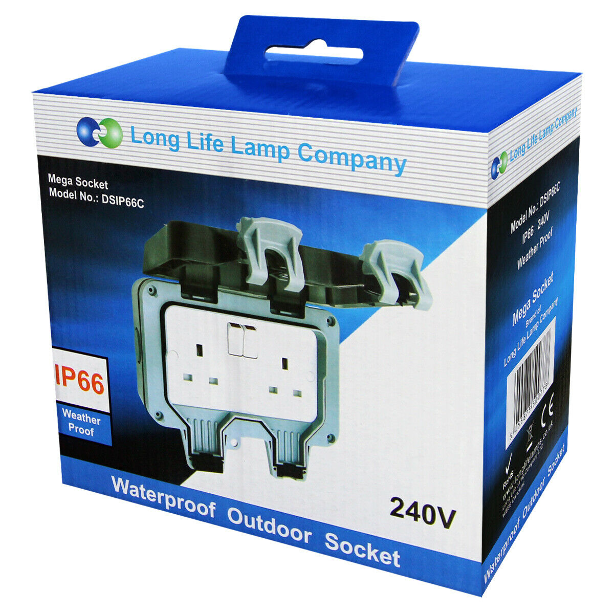 NEWLEC Waterproof Double UK Switched Socket 13A 2 Gang IP66 Weatherproof Ref240