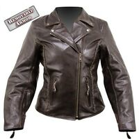 Womens Armored Braided Retro Brown Vented Leather Motorcycle biker Jacket NEW