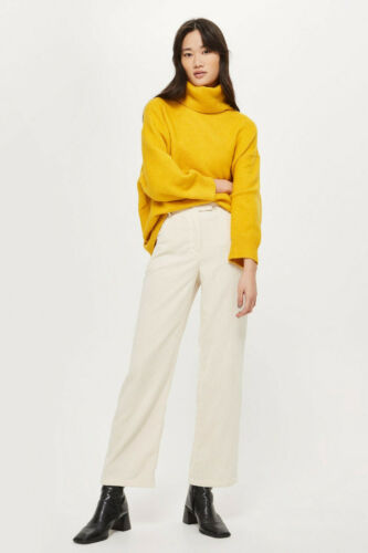 Ex Topshop Petite Cream Corduroy Slouch Trousers Relaxed Fit RRP £36 Size 8-16