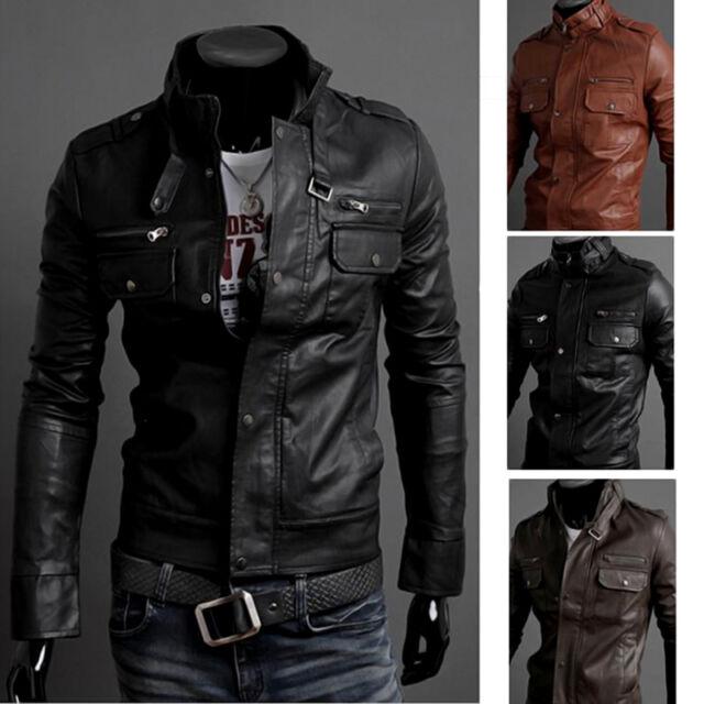 New Fashion Men's PU Leather Jacket Biker Slim Fit Motorcycle Jacket Blazer Hot