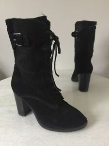 Me Too Ana Black Suede Lace Up Zip Mid