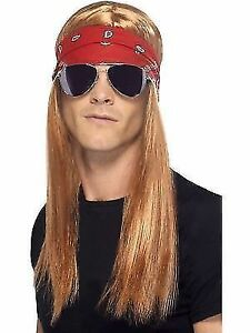 Mens 90s Rocker Rock Star Wig Bandana Sunglasses Kit Costume
