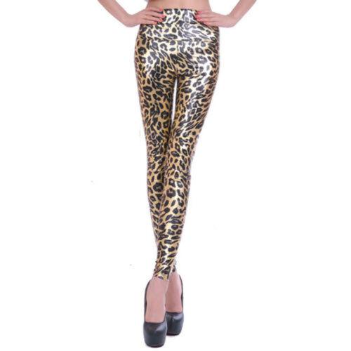 Damen Kunstleder Leggings Hose Steghose Lederhose Lederleggings Hohe Taille