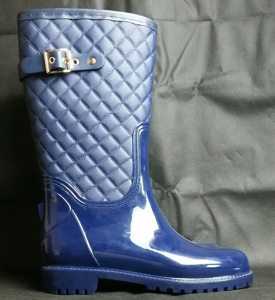 Sociology Kathy Mid Calf Quilted Rain Boots Navy Blue Size 6 New