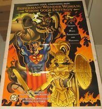 "1997 SUPERMAN WONDER WOMAN Dealer Advertisement Promo Poster 22""x 34"" DC Comics"