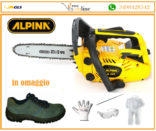 Motosega a scoppio leggera da potatura Alpina A 305 barra da 25 cm + scarpe