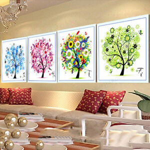 Diy Counted Cross Stitch Kit Spring Season Tree Home Decor Colorful