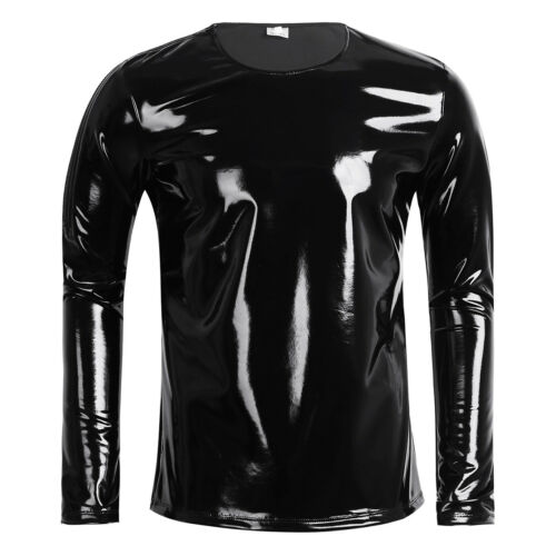 Men Latex T shirt Patent Leather SHORT SLEEVE Nightclub Tank Top Harness Tights