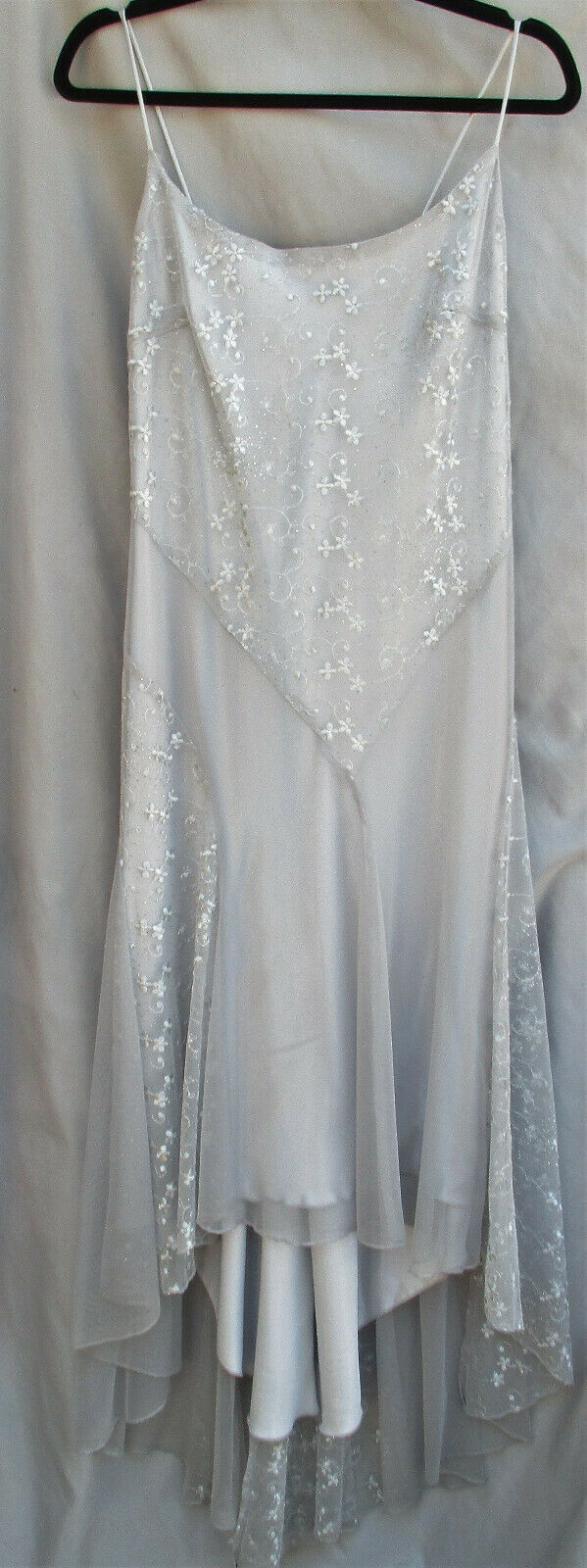 Vintage Look Silver Gray Shimmer Embroidered Evening Gown Size XXL