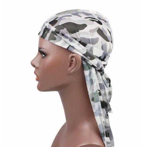Unisex Men Women Satin Camouflage Durag Turban Bandana Silky Du Rag Headwrap Cap