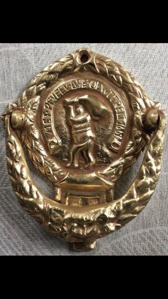 Gammel dansk messing dørhammer, 1800-1900-tallet