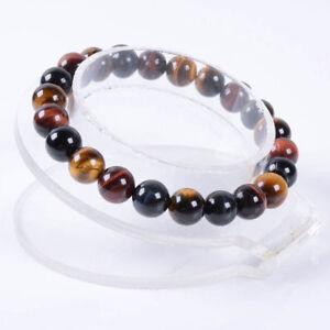 Natural-8mm-Multi-color-Tiger-039-s-Eye-Round-Gemstone-Beads-Elastic-Bracelet-7-5-039-039