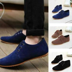 Suede-European-Slip-On-Comfy-Driving-Shoes-Men-039-s-Oxfords-Casual-Lace-Up-Flats