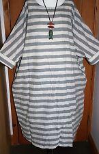 """Plus Size WIDE Striped Kaftan Dress 70+"""" Bust Cotton & Linen Grey & Beige Boho"""