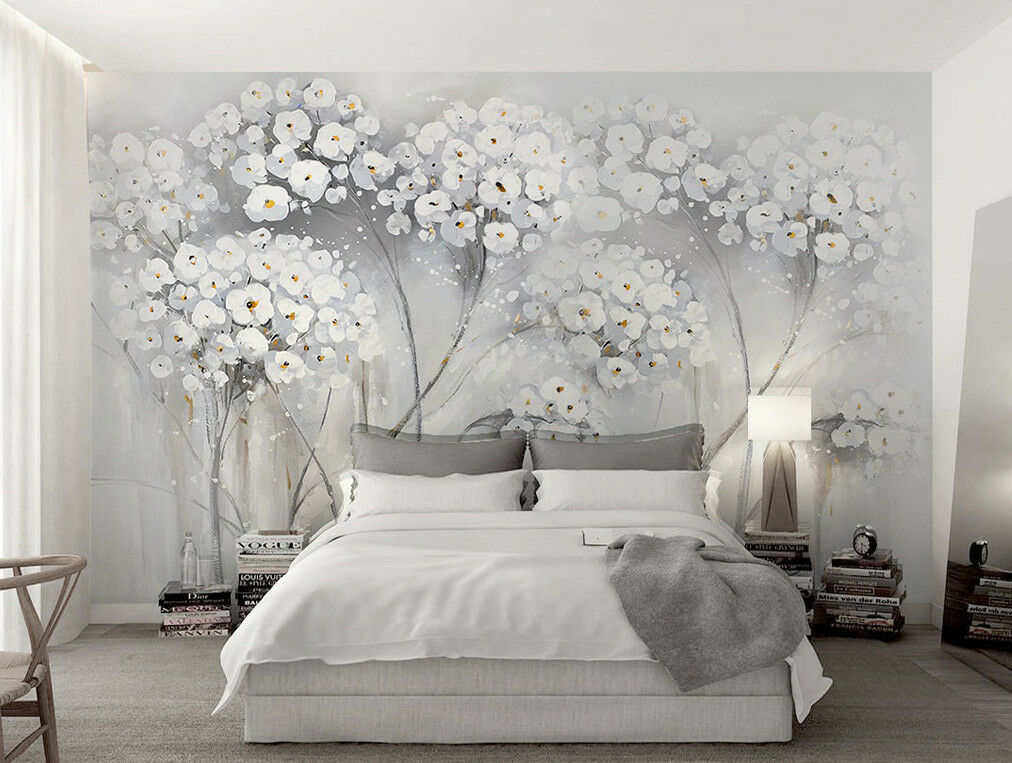 3D White Flower 800 Wall Paper Exclusive MXY Wallpaper Mural Decal Indoor Wall