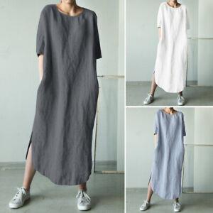 ZANZEA-UK-Womens-Casual-Loose-Long-Sleeve-Tunic-Dress-Ladies-Kaftan-Maxi-Dresses