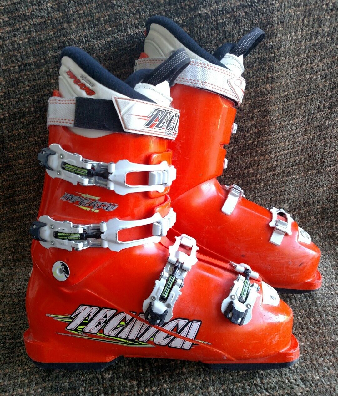 Tecnica Diablo Inferno R10 orange 298mm  downhill race ski boots size 7.5 US mens  discount store