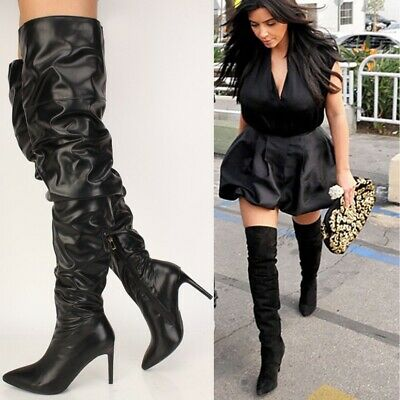 8df31a64777 Sexy Black Slouch Pointy Toe Over the Knee Thigh High Winter Boots Faux  Leather | eBay