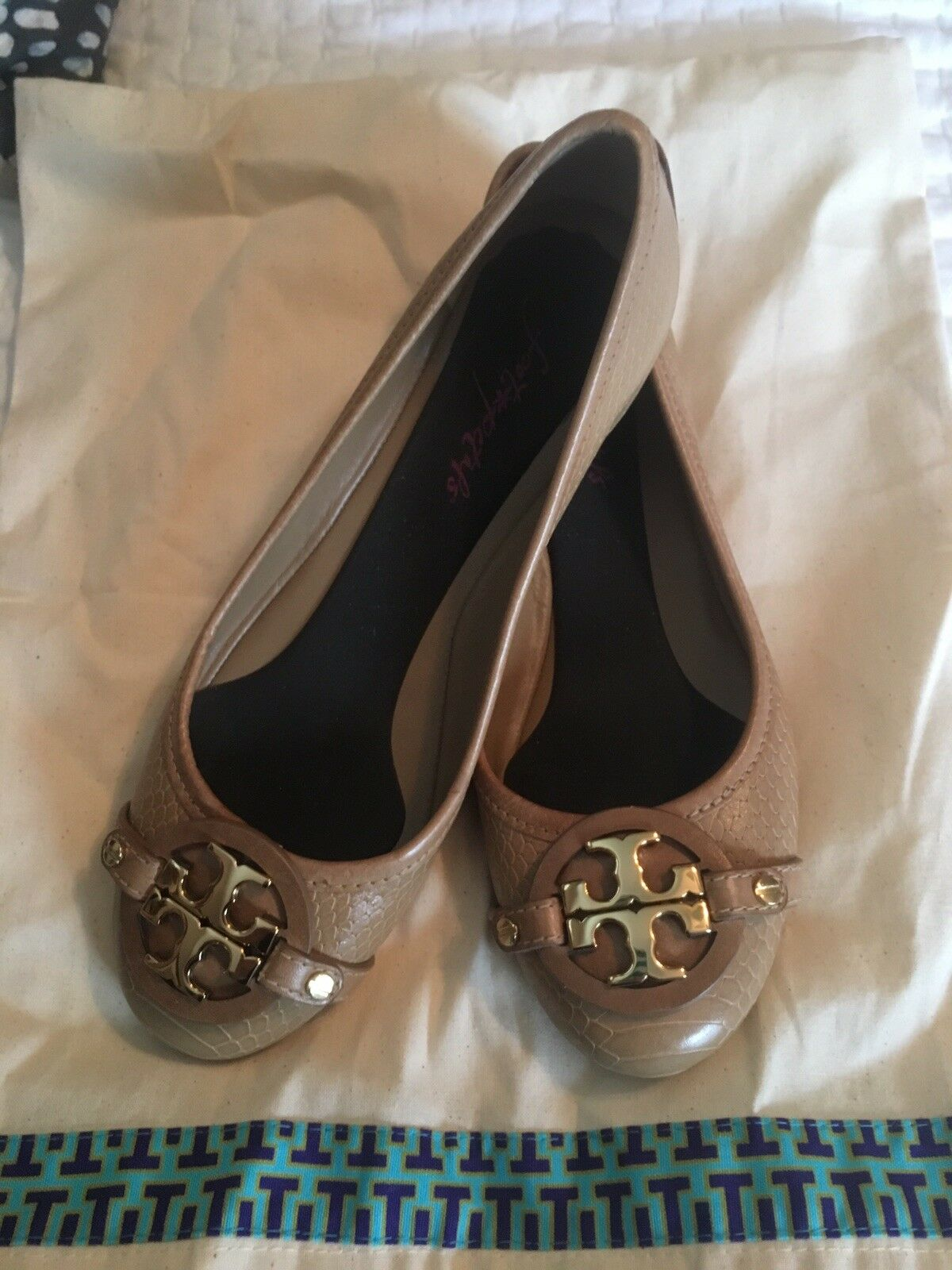 Tory Burch Reva Flats Textured Tan Leather Leather Leather Size 7.5 Preowned with Bag fc5116