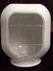 Vintage milkglass light fixture shade art deco bathroom for Art deco bathroom vanity lights