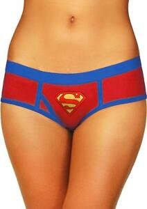 SuperMan-Boyshort-Pantie-Logo-2X-Plus-Red-Blue-Comic-Super-Hero-Fan-Lingerie