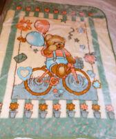 Teddy Bear Riding His Bike Korean Style Plush Mink Soft Baby Boy Blanket