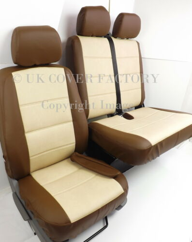 CREAM AND BROWN PVC LEATHER X120G RENAULT TRAFIC  UPTO 2014 VAN SEAT COVERS